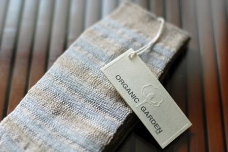 オーガニックリネン・コットン靴下(ボーダーグレー)メンズ