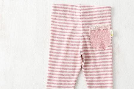 yuga ボーダーレギンス・スパッツ(オーガニックコットン)◆ピンク