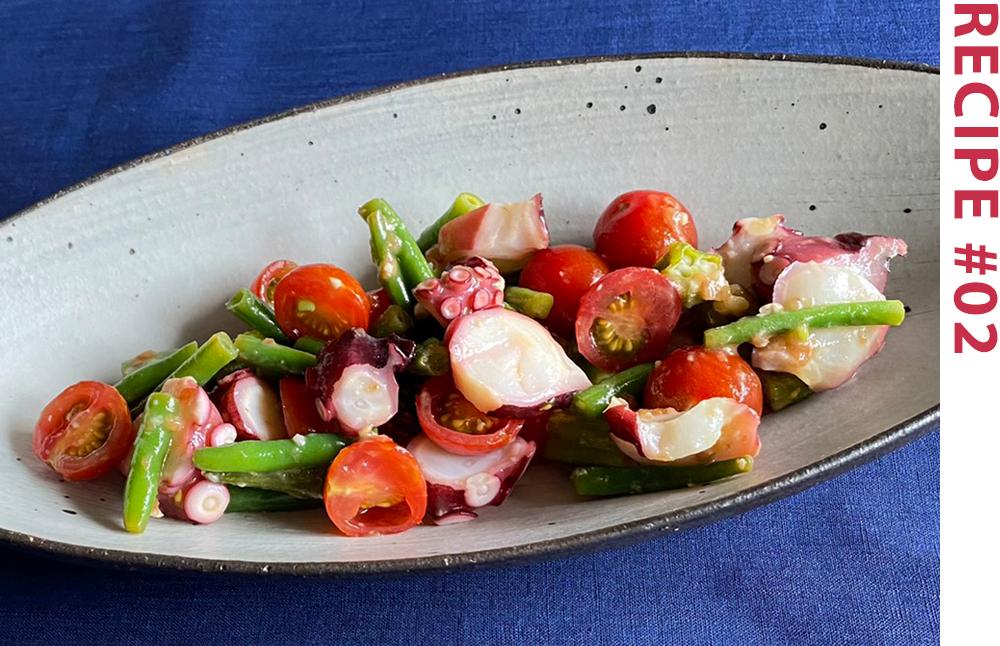 タコと夏野菜の梅醤油和風マリネ