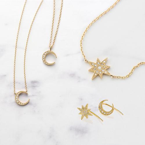 ダイヤモンドネックレス,スター,ムーン,月,星,ゴールドネックレス,おしゃれ,お洒落,オシャレ,K18,18金,通販