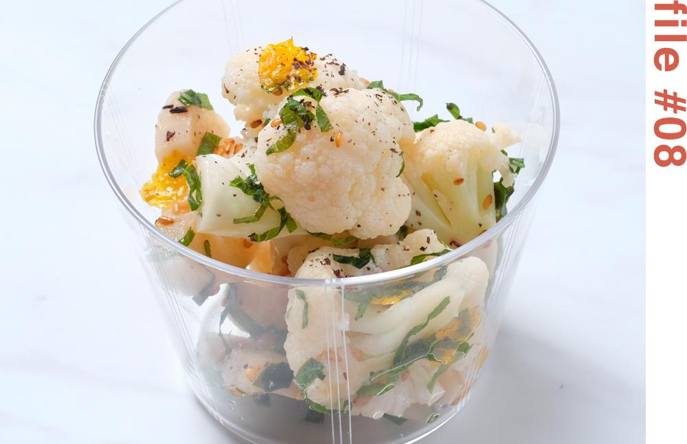 カリフラワーとレンコンの柚子香る醤油サラダ